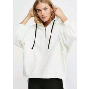Free People White High Road Pullover Hoodie Sweatshirt
